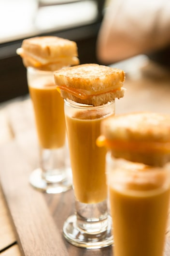 Fall Root Vegetable Soup Shooter Topped With Mini Grilled Cheese [DIY Recipe]
